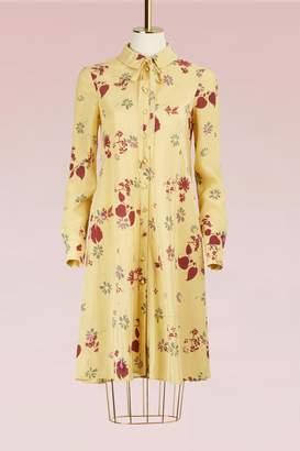 Valentino Floral Printed Long-Sleeved Silk Dress