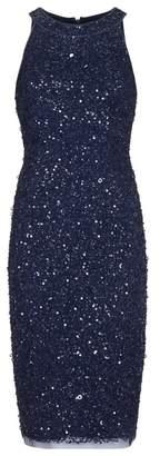 Adrianna Papell Short Beaded Halter Dress