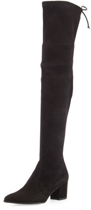 Stuart Weitzman Thighland Suede Over-The-Knee Boot, Black $798 thestylecure.com