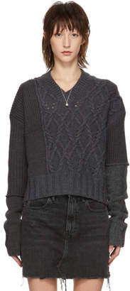 McQ Grey Patched Cable V-Neck Sweater