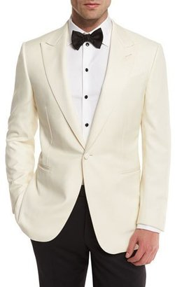 Ermenegildo Zegna Satin-Lapel One-Button Dinner Jacket, White $2,195 thestylecure.com