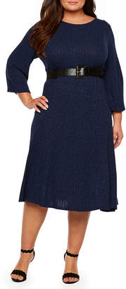 Ronni Nicole Ribbed Knit Belted Dress - Plus