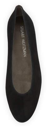 Stuart Weitzman Chicflat Suede Almond-Toe Flat