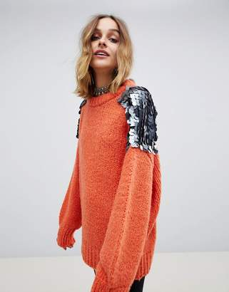 Native Rose oversized chunky knit sweater with large sequin shoulders