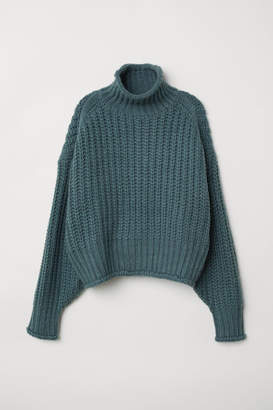 H&M Ribbed Turtleneck Sweater - Turquoise