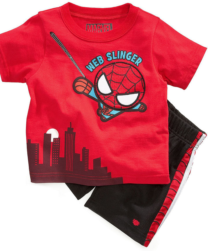 Nannette Baby Set, Baby Boys Marvel Web Slinger Two-Piece Tee and Shorts