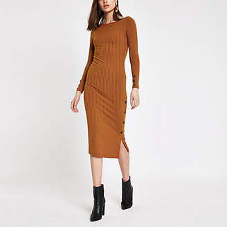 River Island Womens Dark Orange rib button side midi dress