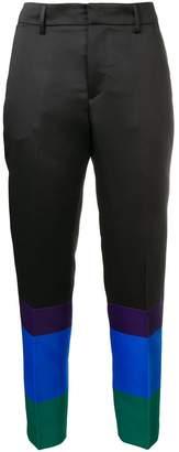 Pt01 block stripe satin-twill trousers