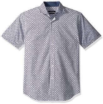 Bugatchi Men's Tappered Printed Dot Short Sleeve Shirt