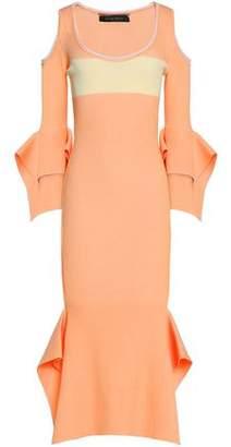 Roland Mouret Cold-Shoulder Two-Tone Ponte Dress