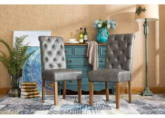 Roundhill Furniture Roundhill Habit Gray Faux Leather Tufted Parsons Dining Chairs with Solid Wood Frame ,Set of 2
