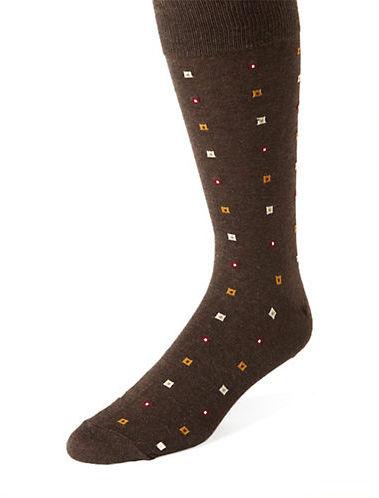 Black Brown 1826 Square Print Socks