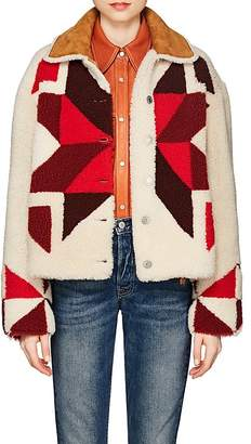 Isabel Marant Women's Adil Reversible Geometric-Pattern Shearling Coat