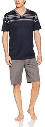 Hanro Men's Oliver Short Sleeve V-Neck Pajama Set