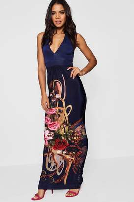 boohoo Border Print Halter Neck Maxi Dress