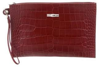Longchamp Embossed Leather Zip Clutch