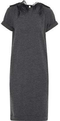 Brunello Cucinelli Feather-Trimmed Embellished Stretch-Wool Jersey Dress