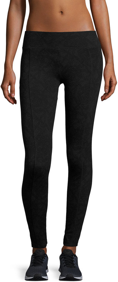 Marc NY Performance Lace-Print Flat-Waist Leggings, Black