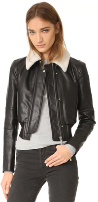 Helmut Lang Leather Jacket with Detachable Collar $1,595 thestylecure.com
