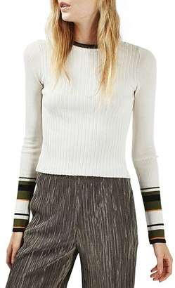 Topshop Stripe Cuff Crop Top $58 thestylecure.com