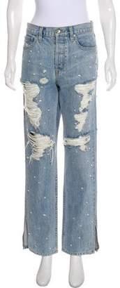Jonathan Simkhai Embellished High-Rise Straight Jeans