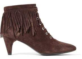 Maje Fringed Suede Ankle Boots