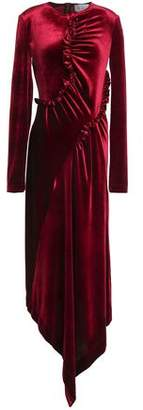 Preen by Thornton Bregazzi Tegan Asymmetric Ruffle-Trimmed Velvet Midi Dress