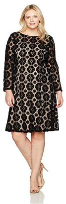 Adrianna Papell Women's Size Plus Textured Florl Lace Flounce Dress