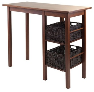 Winsome Wood Egan 3-Piece Breakfast Table Set, with 2 Baskets, Walnut