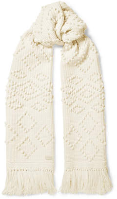 Saint Laurent Fringed Embroidered Wool Scarf - Ivory