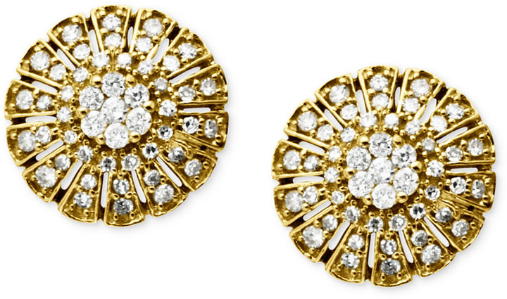 14k Gold Earrings, Diamond Cluster Circle Stud (1/2 ct. t.w.)