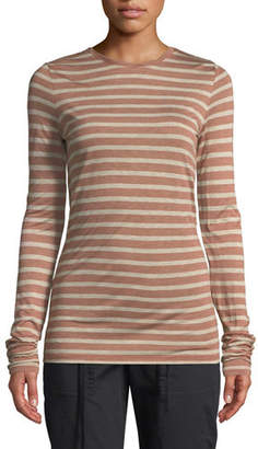 Vince Striped Long-Sleeve Crewneck Top