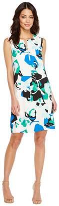 Calvin Klein Sleeveless Printed Sheath with Zipper Women's Dress