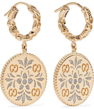 Gucci Icon 18-karat Gold And Enamel Earrings