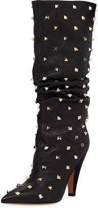 Valentino Slouchy Leather Scrunch Stud Mid-Calf Boots