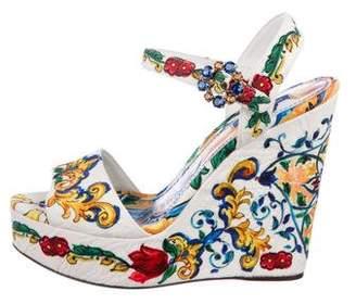 Dolce & Gabbana Majolica Wedge Sandals