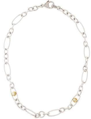 Judith Ripka Two-Tone Diamond Link Chain Necklace