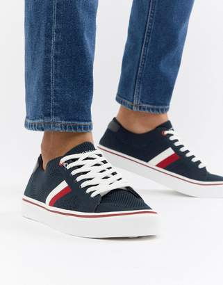 Tommy Hilfiger Icon Stripe Knit Sneakers In Navy