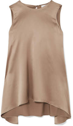 Brunello Cucinelli Asymmetric Silk-satin Top - Beige