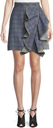 Self-Portrait Self Portrait Check Flounce Mini Skirt
