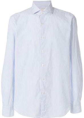 Xacus striped curved hem shirt