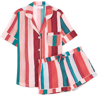 Desmond & Dempsey - Striped Cotton-voile Pajama Set - Red