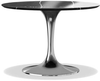 "Williams-Sonoma Tulip Round Nickel Dining Table, 42"", Black Marble"