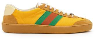 Gucci Nylon And Suede Web Trainers - Mens - Yellow Multi