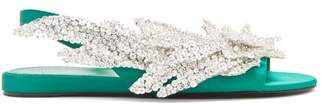 Balenciaga Slash Flats - Womens - Green Silver