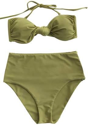 d1918ba1f8 at Amazon Canada · Seaselfie Women s Tea High Waisted Haler Padding Bikini  Set Swimwear Large