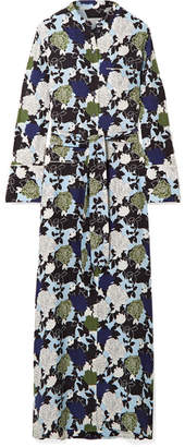 Equipment Britten Floral-print Silk Crepe De Chine Maxi Dress - Blue