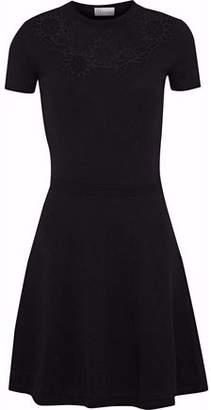 RED Valentino Point D'esprit-Paneled Stretch-Knit Mini Dress