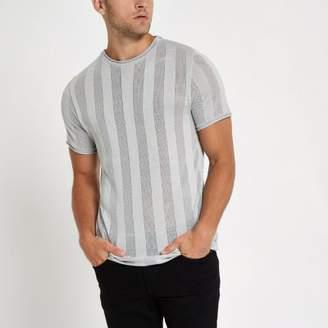 River Island Light grey mesh stripe slim fit T-shirt