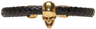 Alexander McQueen Black and Gold Braided Leather Skull Bracelet